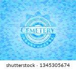 cemetery light blue emblem.... | Shutterstock .eps vector #1345305674