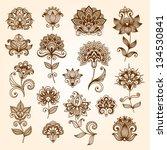ornamental flowers. vector set... | Shutterstock .eps vector #134530841