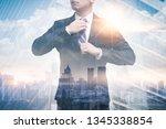 the double exposure image of... | Shutterstock . vector #1345338854