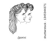 zodiac sign  gemini symbol...   Shutterstock .eps vector #1345344371