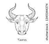 second astrological zodiac sign ...   Shutterstock .eps vector #1345344374