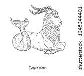 zodiac sign  capricorn symbol...   Shutterstock .eps vector #1345344401