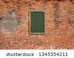 old wooden frame on the grunge... | Shutterstock . vector #1345354211