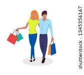 vector flat men end women on... | Shutterstock .eps vector #1345356167
