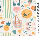 summer pattern. vector seamless ...   Shutterstock .eps vector #1345383764