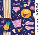 summer pattern. vector seamless ...   Shutterstock .eps vector #1345383767