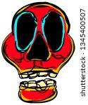 wobbly abstract skull face... | Shutterstock .eps vector #1345400507