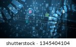 bytes of binary code run... | Shutterstock .eps vector #1345404104
