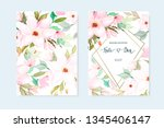 set of floral card with... | Shutterstock .eps vector #1345406147