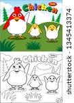 vector cartoon with chicken and ... | Shutterstock .eps vector #1345413374