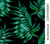 tropical palm leaves seamless ... | Shutterstock .eps vector #1345430087