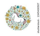 cute doodle unicorn in a flower ... | Shutterstock .eps vector #1345430507