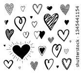 set of heart doodles. hand... | Shutterstock .eps vector #1345441154
