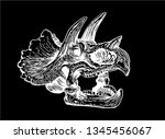 graphical skull of triceratops... | Shutterstock .eps vector #1345456067