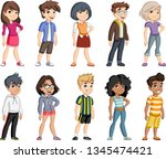 group of cartoon young children....   Shutterstock .eps vector #1345474421