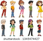 group of cartoon young children.... | Shutterstock .eps vector #1345474427