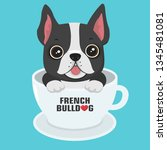 Stock vector vector icon puppy dog breed french bulldog pet dog black sits in a white cup illustration 1345481081