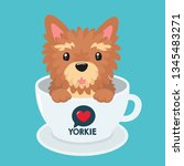Stock vector vector icon puppy dog breed yorkshire terrier pet beige yorkie dog sitting in a white cup 1345483271