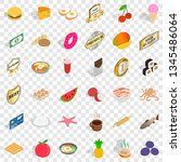 tasty food icons set. isometric ... | Shutterstock .eps vector #1345486064