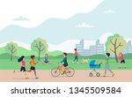 people doing various outdoor... | Shutterstock .eps vector #1345509584
