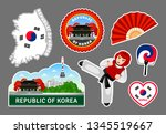 set of korean travel stickers.... | Shutterstock .eps vector #1345519667