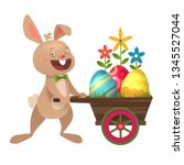 happy easter greeting card with ... | Shutterstock .eps vector #1345527044