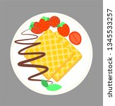 crispy waffles with chocolate... | Shutterstock .eps vector #1345533257