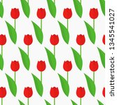 spring red tulips flowers... | Shutterstock .eps vector #1345541027