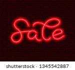 night sale neon lettering.... | Shutterstock .eps vector #1345542887