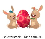happy easter greeting card with ... | Shutterstock .eps vector #1345558601