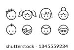 linear icons of faces of men... | Shutterstock .eps vector #1345559234