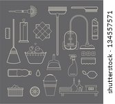 vector set of stylized cleaning ... | Shutterstock .eps vector #134557571