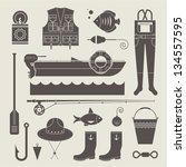 vector set of various stylized...   Shutterstock .eps vector #134557595