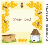promo label with bees and hives.... | Shutterstock .eps vector #1345589531