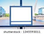 mockup of white billboard on... | Shutterstock . vector #1345593011