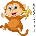 Stock vector cute monkey eating banana 134560307