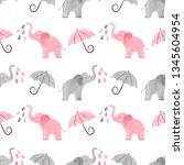 cute pattern with watercolor... | Shutterstock .eps vector #1345604954