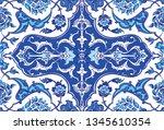 ottoman empire  blue ceramic... | Shutterstock .eps vector #1345610354