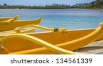 group of outrigger canoes at...