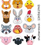 animal head cartoon collection | Shutterstock .eps vector #134561945