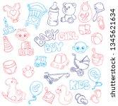 vector hand drawn set of... | Shutterstock .eps vector #1345621634