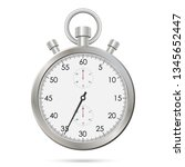 silver realistic stopwatch.... | Shutterstock .eps vector #1345652447