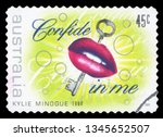 australia   circa 1994  a stamp ... | Shutterstock . vector #1345652507