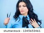 girl makeup face hold tweezer... | Shutterstock . vector #1345653461