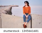 young stylish girl wearing... | Shutterstock . vector #1345661681
