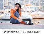 young beautiful happy girl... | Shutterstock . vector #1345661684