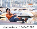 young beautiful happy girl... | Shutterstock . vector #1345661687