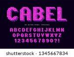 pixel vector font design ... | Shutterstock .eps vector #1345667834