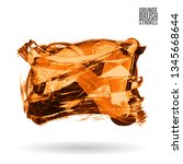 orange brush stroke and texture.... | Shutterstock .eps vector #1345668644