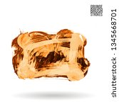 orange brush stroke and texture.... | Shutterstock .eps vector #1345668701